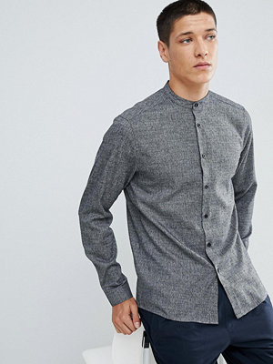 ASOS DESIGN slim twill shirt with grandad collar