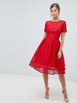 Chi Chi London Premium Lace Prom Dress with Cutwork Hem