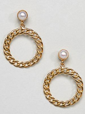 Ottoman Hands örhängen Gold Plated Chain Pearl Hoop Earrings
