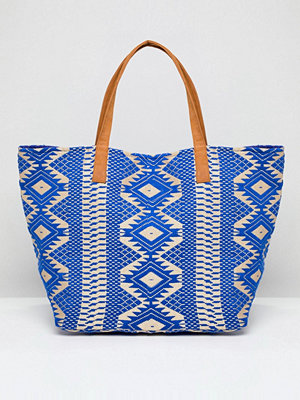 Pieces shopper Embroidered Bag - Martime blue