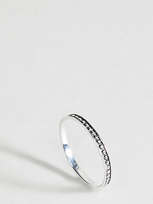 ASOS DESIGN Sterling Silver Engraved Ball Detail Ring