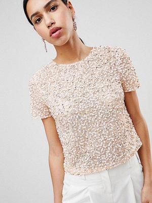 ASOS DESIGN T-shirt med paljetter Mjukt rosa