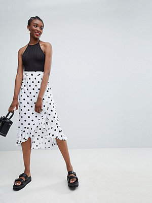 Monki Wrap Ruffle Polka Dot Midi Skirt