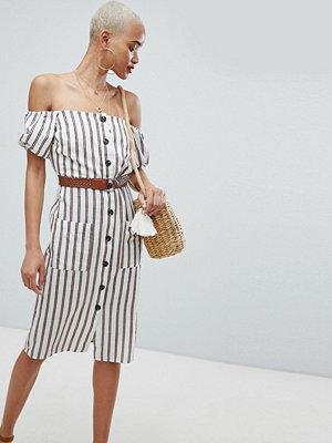River Island Stripe Off The Shoulder Midi Dress - Tan