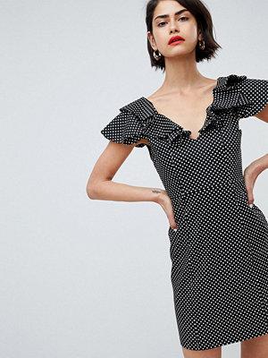 River Island Ruffle Shoulder Polka Dot Bodycon Mini Dress - Black spot