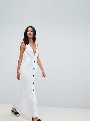 Asos Tall ASOS DESIGN Tall plunge city maxi with button front detail