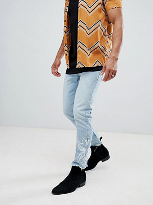 Jeans - ASOS DESIGN Slim Jeans In Light Wash Blue With Western Embroidery - Light wash blue