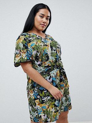 Junarose tropical print tie front dress