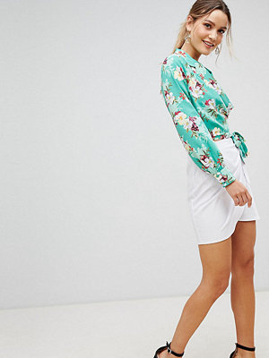 PrettyLittleThing Tie Front Mini Skirt