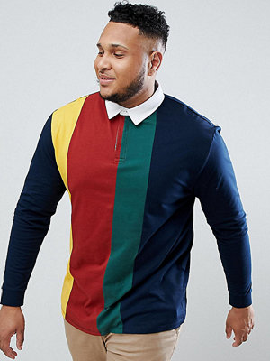 ASOS DESIGN Plus relaxed rugby polo shirt with vertical colour block