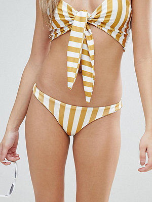 PrettyLittleThing Stripe Bikini Brief - Mustard and white