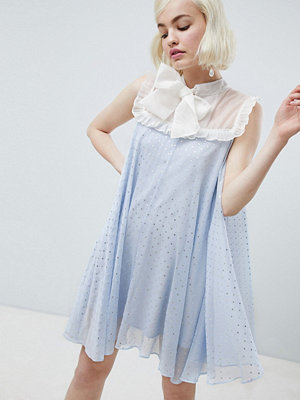 Sister Jane smock dress with pussybow in sparkle fabric - Light blue