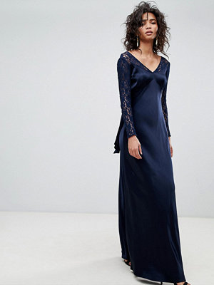 Ghost Long Sleeve Maxi Dress With Lace Bodice & Bow Back - Navy
