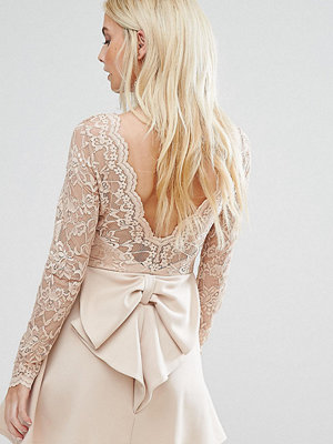Club L Petite Allover Lace Top Mini Dress With Open Bow Back - Nude