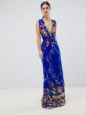City Goddess V Neck Floral Print Maxi Dress