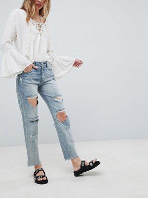 One Teaspoon Awesome Baggies Raka jeans med hög midja och slitna partier Blue storm