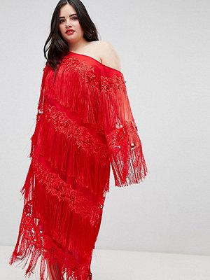ASOS Edition Curve embroidered one shoulder fringe midi dress