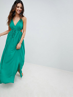 ASOS DESIGN Halter Maxi Beach Dress With Cut Out Sides