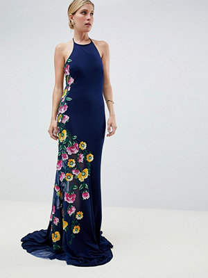 Jovani Maxi Dress With Embroided Side Detail