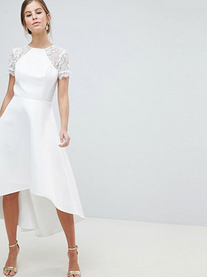 Chi Chi London High Low Hem Prom Dress With Lace Sleeves
