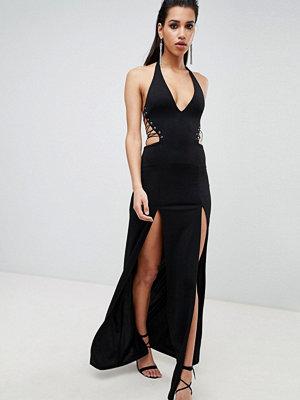 ASOS DESIGN Halter Lace Up Maxi Dress
