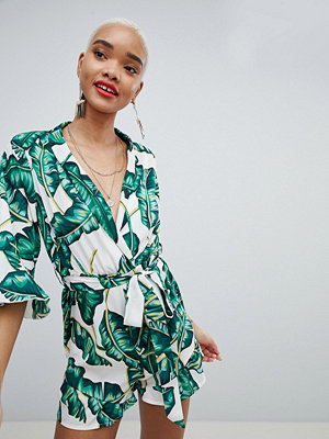 PrettyLittleThing Palm Print Playsuit