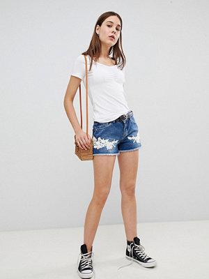 Pimkie Crochet Jeans Shorts med virkade detaljer