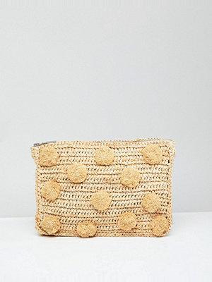 Whistles kuvertväska Straw Pom Pom Medium Clutch Bag - Beige