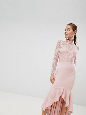 City Goddess Petite Long Sleeve High Neck Fishtail Maxi Dress With Lace Detail - Blush pink