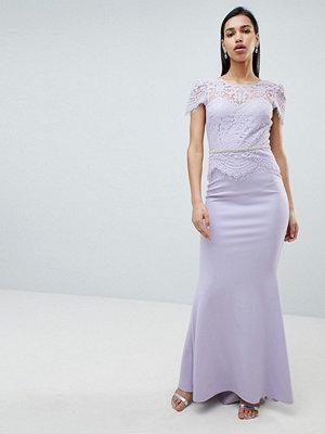 City Goddess Lace Belted Fishtail Maxi Dress - Lilac