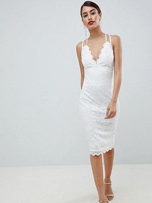 City Goddess Scalloped Edge Lace Midi Dress