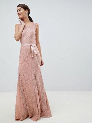 City Goddess Lace Maxi Dress With Satin Belt - Blush pink
