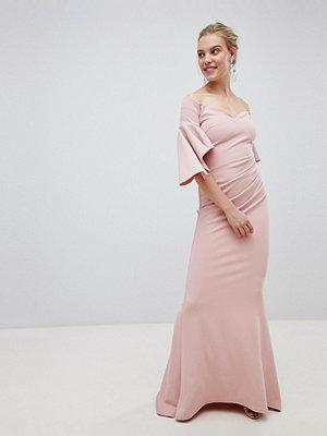 City Goddess Long Sleeve Bardot Maxi Dress - Blush pink