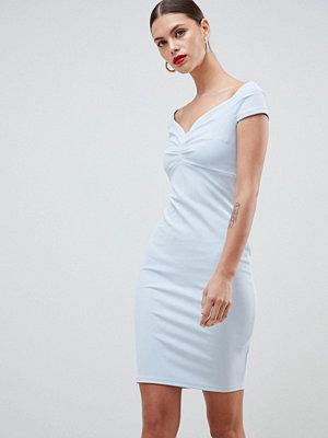 City Goddess Bardot Pencil Midi Dress - Pale blue
