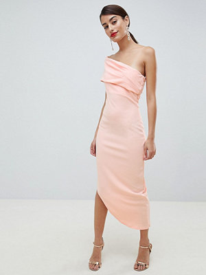 City Goddess One Shoulder Dress With Asymetric Hem - Blush pink
