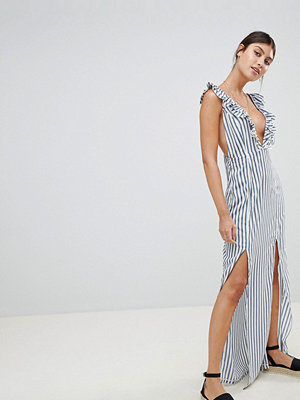 PrettyLittleThing Striped Plunge Maxi Dress - White and blue
