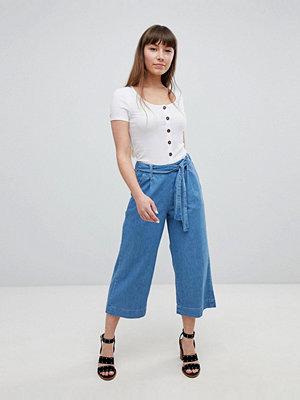 New Look Culotte-byxor i denim med knytband i midjan Mid