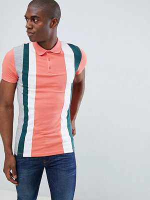 ASOS DESIGN muscle polo shirt with vertical colour block in pink - Camillia