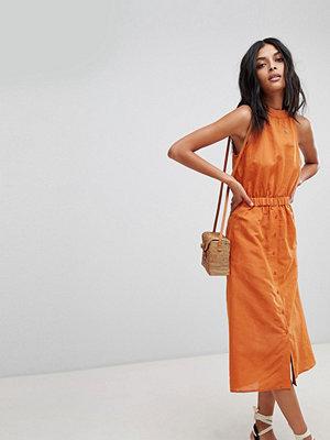 Warehouse Linen High Neck Dress - Rust