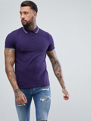 ASOS DESIGN pique polo with tipped collar - Midnight/ chips