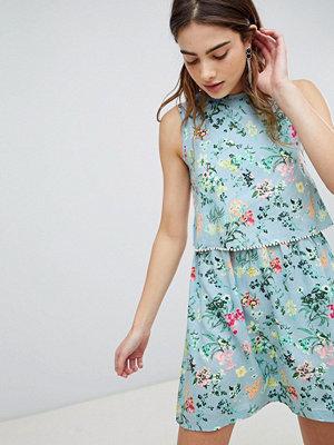Brave Soul Celeste Double Layer Floral Dress with Pom Pom Trim - Light blue