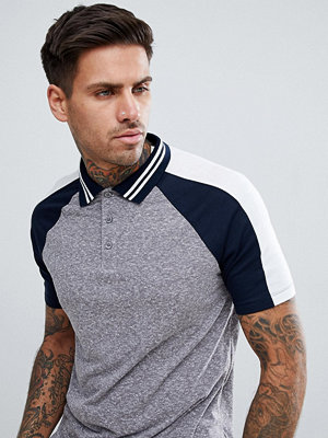 ASOS DESIGN polo shirt in interest fabric with contrast split sleeve