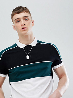 ASOS DESIGN polo shirt with colour block and contrast piping