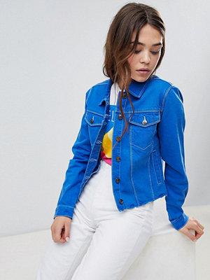 Brave Soul Harris Raw Coloured Denim Jacket - Cobalt