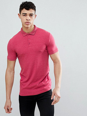 ASOS DESIGN muscle fit jersey polo in pink - Rasp marl