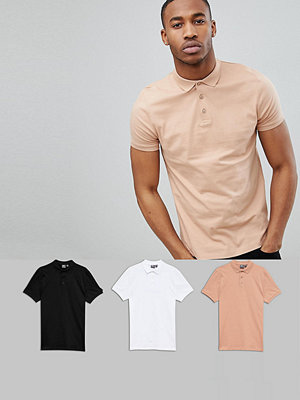 ASOS DESIGN Polo In Jersey 3 Pack Save - Wht/ blk/ bread