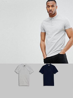 ASOS DESIGN polo with button down collar in pique 2 pack SAVE - Nvy/gry mrl