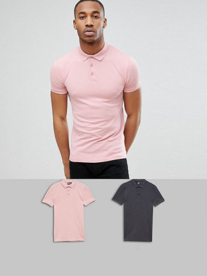 ASOS DESIGN Muscle Fit Polo In Pique 2 Pack Save - Charmar/spink