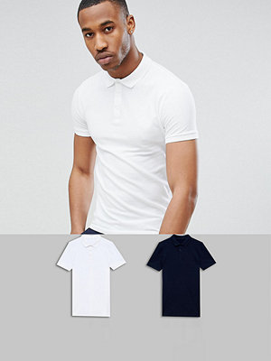 ASOS DESIGN muscle fit polo in pique 2 pack SAVE - Navy/ wht