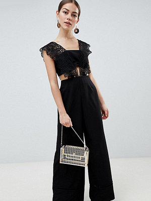ASOS Petite ASOS DESIGN Petite Lace Top Jumpsuit With Wide Leg